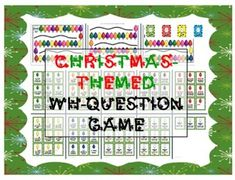 Christmas-themed WH-question game for speech therapy / preschool