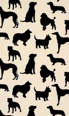 MDH-100   Madison Humphrey - Dog Flock Velvet Wallpaper