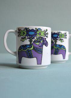 Dala Horse Mugs  Set of 2 by MisterTrue on Etsy
