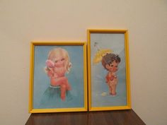 Vintage Boy and Girl Otto Framed Bathroom Decor Pictures on Etsy, $18.00