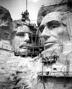 The 20th century's most famous sculpture grouping, Mount Rushmore depicts the heads of Presidents Washington, Jefferson, Theodore Roosevelt, and Lincoln, blasted out of the face of the mountain between 1927 and 1941 by teams of workers under the direction of sculptor Gutzon Borglum, at a total cost of just under $ 1 million. The heads are carved to the proportion of men 465' tall. Originally, Borglum planned to carve the bodies from the waist up, but only Washington's lapels were completed.