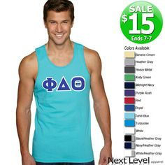 Next Level Fraternity Tank with Twill Letters - SALE $15 Sale ends 7/7/14! #greek #apparel #fraternity #clothing #summer twill letter, tank