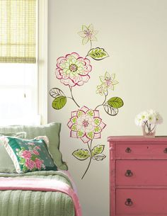 WallPops Des Fleurs Wall Art Kit - http://www.wallpops.com/des-fleurs-wall-art-kit-wallpops-decals.aspx #walldecals  #wallart  #peelandstick  #WallPops  #wallstickers  #decor  #DIY  #decorating