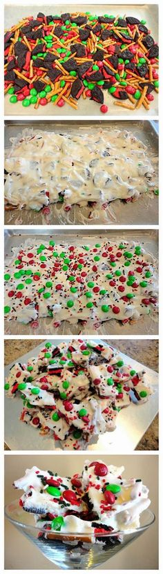 Candy bark (aka candy crack). 14 Oreos, 1.5 cups broken pretzles, 1 cup m&ms, 1 lb white chocolate, and sprinkles. Line baking sheet with wax paper. Mix oreos, pretzles, and 3/4 of m&ms. Melt chocolate and drizzle over mixture. Top with extra candy and sprinkles.