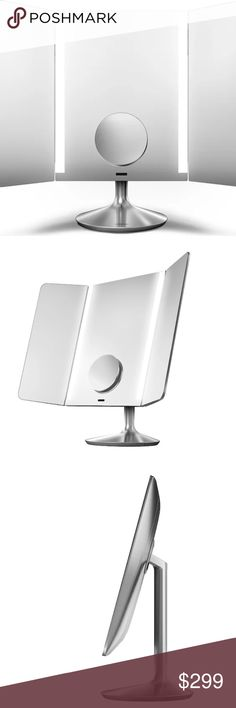 simplehuman Wide-View Sensor Makeup Mirror Pro WHAT IT IS: Make your daily beauty routine easier with the wide-view sensor mirror from simplehuman.  WHAT IT DOES: This mirror provides a wide viewing area with adjustable side panels that let you comfortably see your face at any angle.  The main mirror offers a standard 1:1 view and there is a magnetically attachable 10x detail mirror option that stores easily. The mirror's tru-lux light system simulates natural sunlight, enabling you to see full