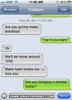 zombies for breakfast. cute.