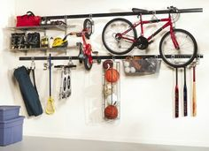 My family plays sports and being active outdoors, so I love this garage wall storage system from Rubbermaid!