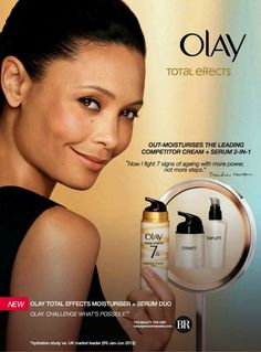 THANDIE  NEWTON FOR TOTAL EFFECTS MOISTURIZER +  SERUM DUO    OLAY 2013 ADVERTISEMENT