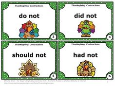 FREE Thanksgiving Activities with Contraction Words Negating a Verb ...