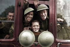 British troops cheerfully board their train for the first stage of their trip to the front – England, September 20, 1939 - Imgur