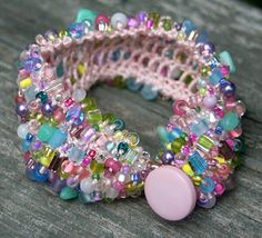 Knitted bracelets with beads .. Wow. Too advanced for me but...wow. Half dozen pics of gorgeous bracelets here. Color inspiration.