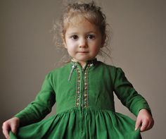 kid cloth, collars, the dress, green dress, daughters, childhood, baby dresses, vintage green, embroidery