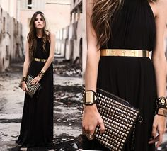 Mini Minou Dress, Mini Minou Belt, Romwe Clutch, Kafé Bracelets