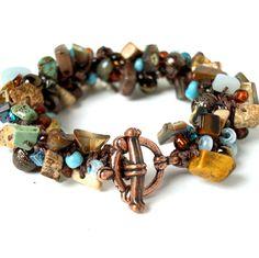 Chocolate Brown Turquoise Stone Bangle Bracelet Tribal Beaded Bracelet Artisan Knit Jewelry Shells Abalone Shell Bangle