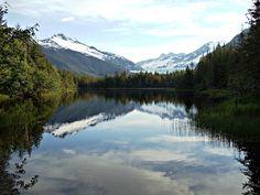 Sandra's Alaska Photographs: June 22, 2012: Moraine Lake with Mendenhall Glacier in the background in Juneau, Alaska...