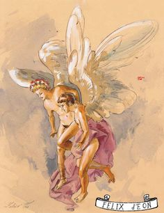Angel Above, Male Nude Figure Drawing Fine Art gay christmas card