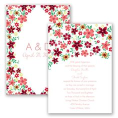 Multi Floral Wedding Invitation - Coral Reef - by David's Bridal at Invitations By David's Bridal