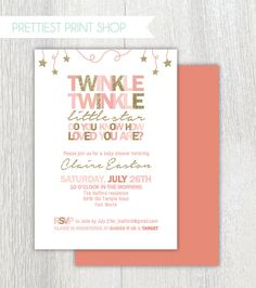 Printable Twinkle Twinkle Little Star invitation - Pink and gold - Twinkle twinkle baby shower - Birthday invitation - Customizable