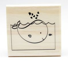 Loving Whale Wood Mounted Rubber Craftsmart Stamp via SeaShoreInspirations
