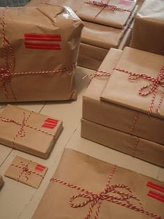 Brown paper packages tied up with string