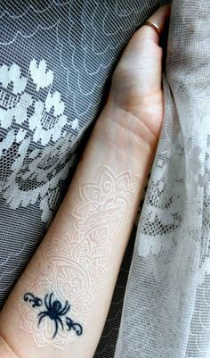 White ink, lace tattoo. by ~GlorifiedDoorbell on deviantART