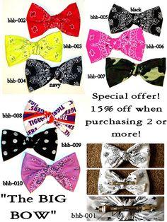 Bandana hair bow, large hair bow,hair clip, hair bow,bow, big hair bow,teens accessories,teens,womens,big bows for hair,hair accessories on Etsy, $7.50