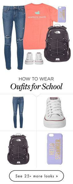 """Set 1- last day of school. Contest in d!!!"" by southernstruttin on Polyvore featuring Converse, The North Face, Paige Denim and Kate Spade"