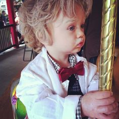 #baby #toddler #halloween #costume. Easy DIY costume for little ones. White hair spray, white face paint (for eyebrows and mustache), and lab coat from party city. Bow tie and sweater from Old Navy. The cutest Einstein ever.