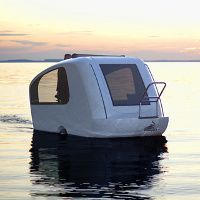 sealander - A clever fusion of a boat and a caravan, where this German-made (where else) camping trailer is one of the more unique amphibious vehicles around. hook, shore house, campers, supper, gadget, boats, lake, sealand, camping trailers