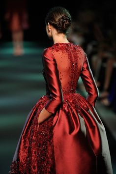 fashion weeks, red, georg hobeika, dress, gown, elie saab, couture fashion, haute couture, georges hobeika