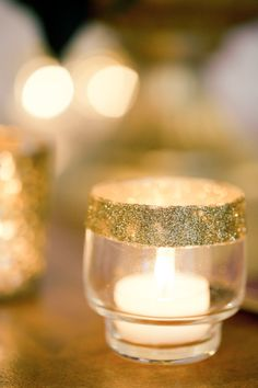 gold glitter dipped candle | Anastasiya Belik Photography | http://burnettsboards.com/2013/12/mixed-berry-wedding-color-palette/