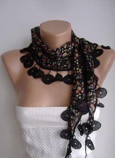 Black Flowered  Elegance Shawl / Scarf  by womann on Etsy, $13.50
