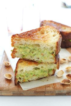Grilled Mascarpone and Roasted Jalapeno Pistachio Pesto Cheese Sandwich / Bev Cooks (serve in little squares at a party!)