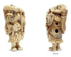 An Ivory Netsuke   Signed Okakoto, Edo Period (18th century)   An impressive and powerful carving of a Tartar archer