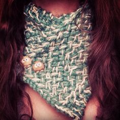 Woven stitch cowl with owl buttons.