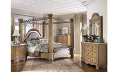 His her bedroom on pinterest bedroom sets yellow bedrooms and gray yellow for Silverglade mansion bedroom set ashley furniture