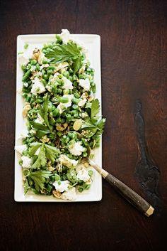 // lentil, kale, crispy shallot salad