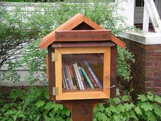 "Saw this on the news.  Neat idea.  Little Free Library: building and promoting ""Take a book, leave a book"" structures that fit in a front yard, by a sidewalk, coffee shop or park and are just big enough to hold 20-30 books that kids and adults can give and take."