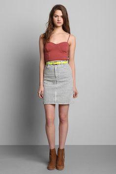 Vintage '80s Denim Pinstripe Pencil Skirt #urbanoutfitters #vintage