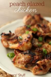 Six Sisters Peach Glazed Chicken Recipe is so easy broiled in the oven!