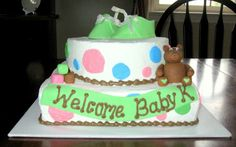 baby shower cake with fondant booties