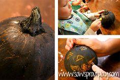 Pumpkin scratch art