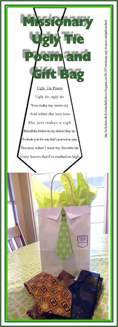Missionary Ugly Tie Poem and Gift Bag Idea