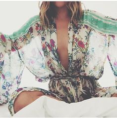 Sexy sheer floral boho chic kimono for a contemporary hippie flair. FOLLOW this board now > http://www.pinterest.com/happygolicky/the-best-boho-chic-fashion-bohemian-jewelry-gypsy-/ for the BEST Bohemian fashion trends for 2015.
