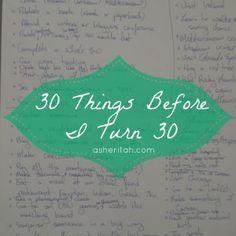 30 Things to Do Before I Turn 30 #bucketlist