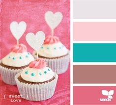 sweet love - color palette. The blue is a nice touch of color to this color palette. Crochet inspiration for sure.
