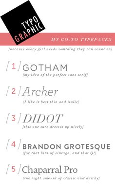 kelsey's go to typefaces