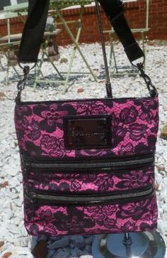 NEW WITH TAGS Betsey Johnson BETSEYVILLE Femme Fatale Black Lace Pink Purse FREE SHIPPING