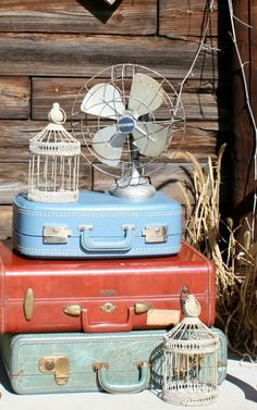 vintage suitcase, birdcage and fan