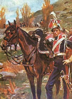 "A member of ""1er Régiment des chevaux-légers [polonais] de la Garde Impériale."" (Wojciech Kossak, 1910, oil on canvas). This splendid regiment of Polish lancers, one of the finest to ever mount horse, accompanied Napoleon as a part of his Guard from 1807 on, and is most famous for their charge at the Battle of Somosierra (1808). Always faithful and loyal to Napoleon, even after Poland had been overrun, members accompanied their Emperor into exile in 1814, and to Waterloo in 1815."